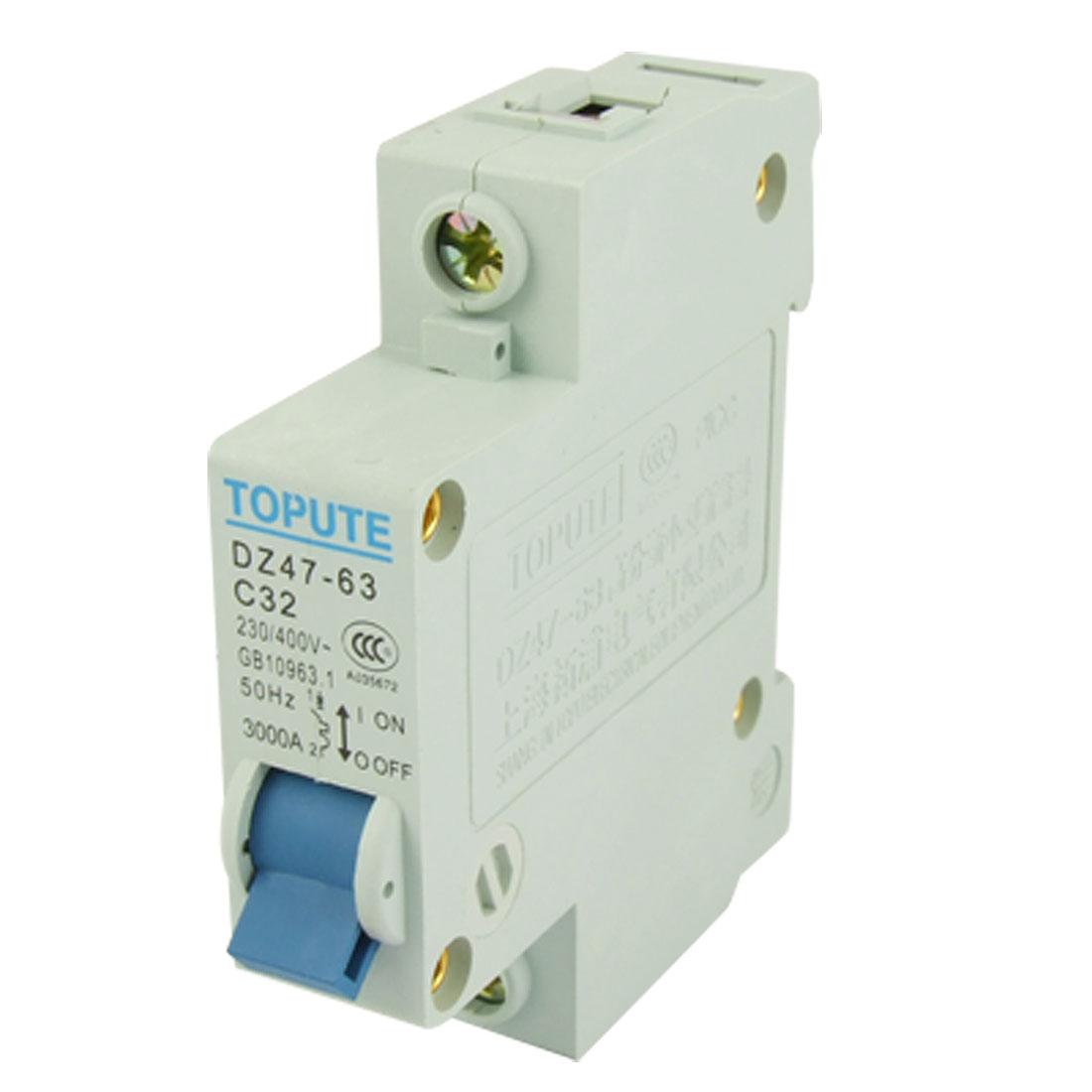 3000A Breaking Capacity Single Pole MCB Mini Circuit Breaker DZ47-63 C32