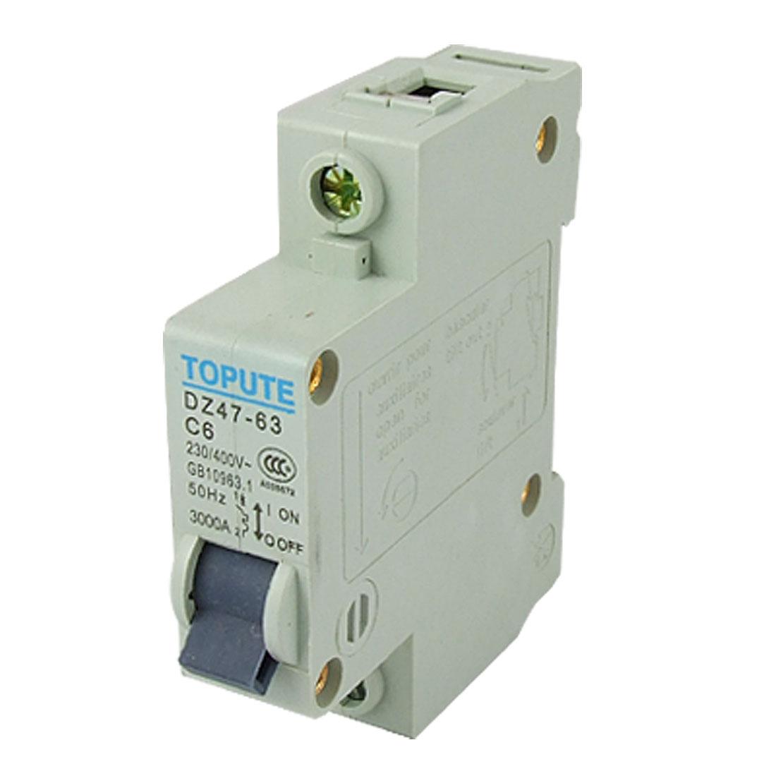 Single Pole 6A Rated Current Miniature Circuit Breaker MCB