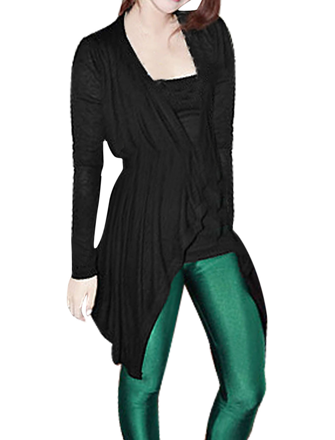 Woman Black Hanky Hem Long Sleeve Autumn Tunic Cardigan S