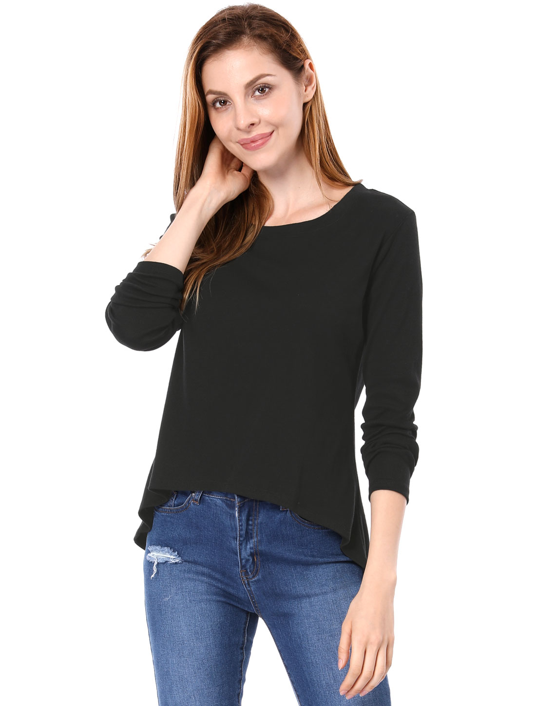 Women Scoop Neck Long Sleeves Black Asymmetric Hem Shirt S