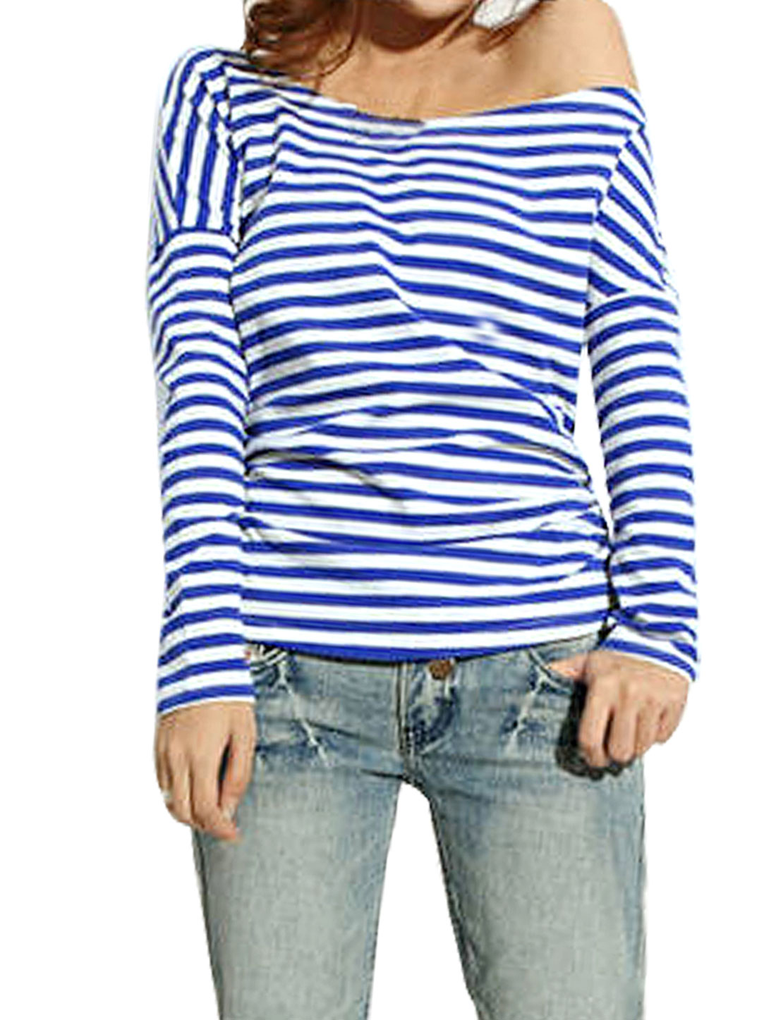 Women Boat Neck Blue White Horizontal Striped Shirt XS