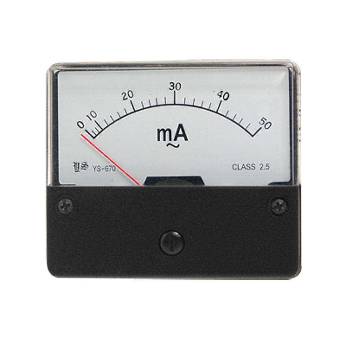AC 0-50mA Rectangular Panel Analog Ampere Meter Ammeter YS-670
