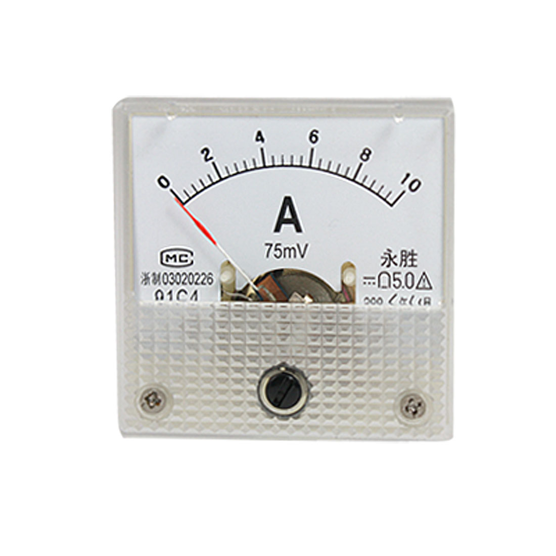 91C4 DC 10A 75mV Current Analog Pointer Square Panel Meter Ammeter