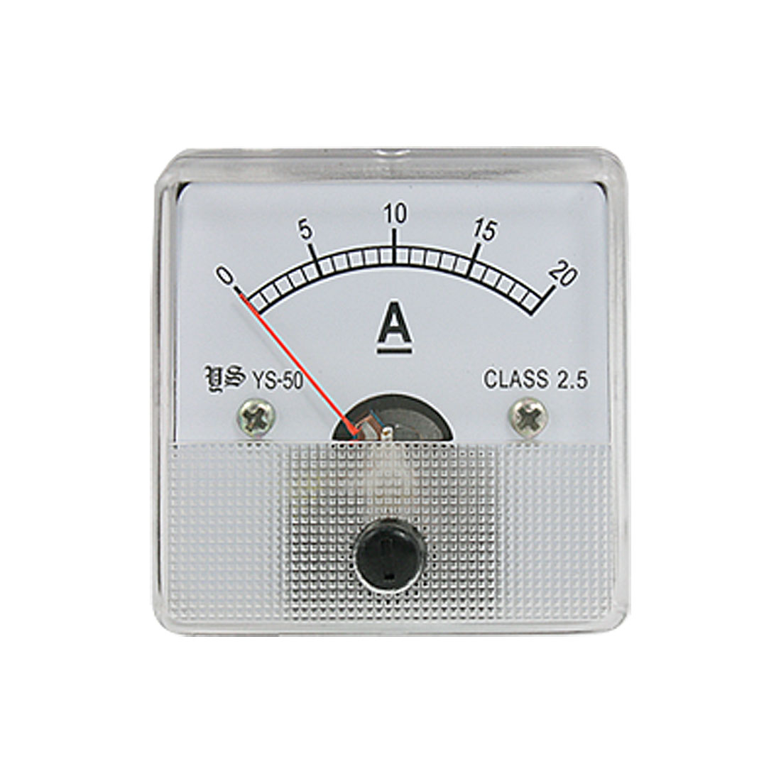 YS-50 Plastic Clear Encased DC 0-20A Analogue Ampere Panel Meter