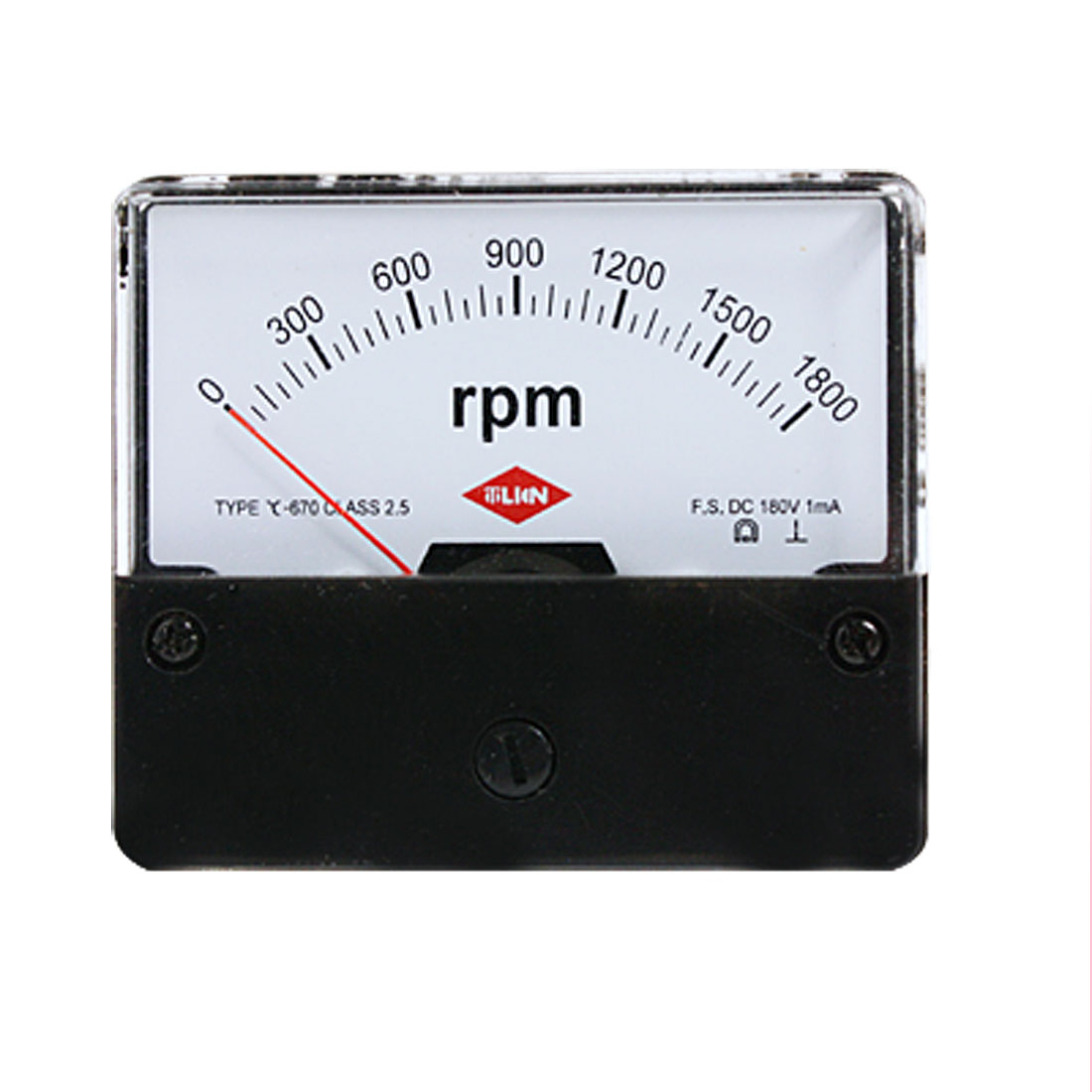 0-1800 RPM DC 180V Rectangle Panel Meter Class 2.5 Accuracy 1mA