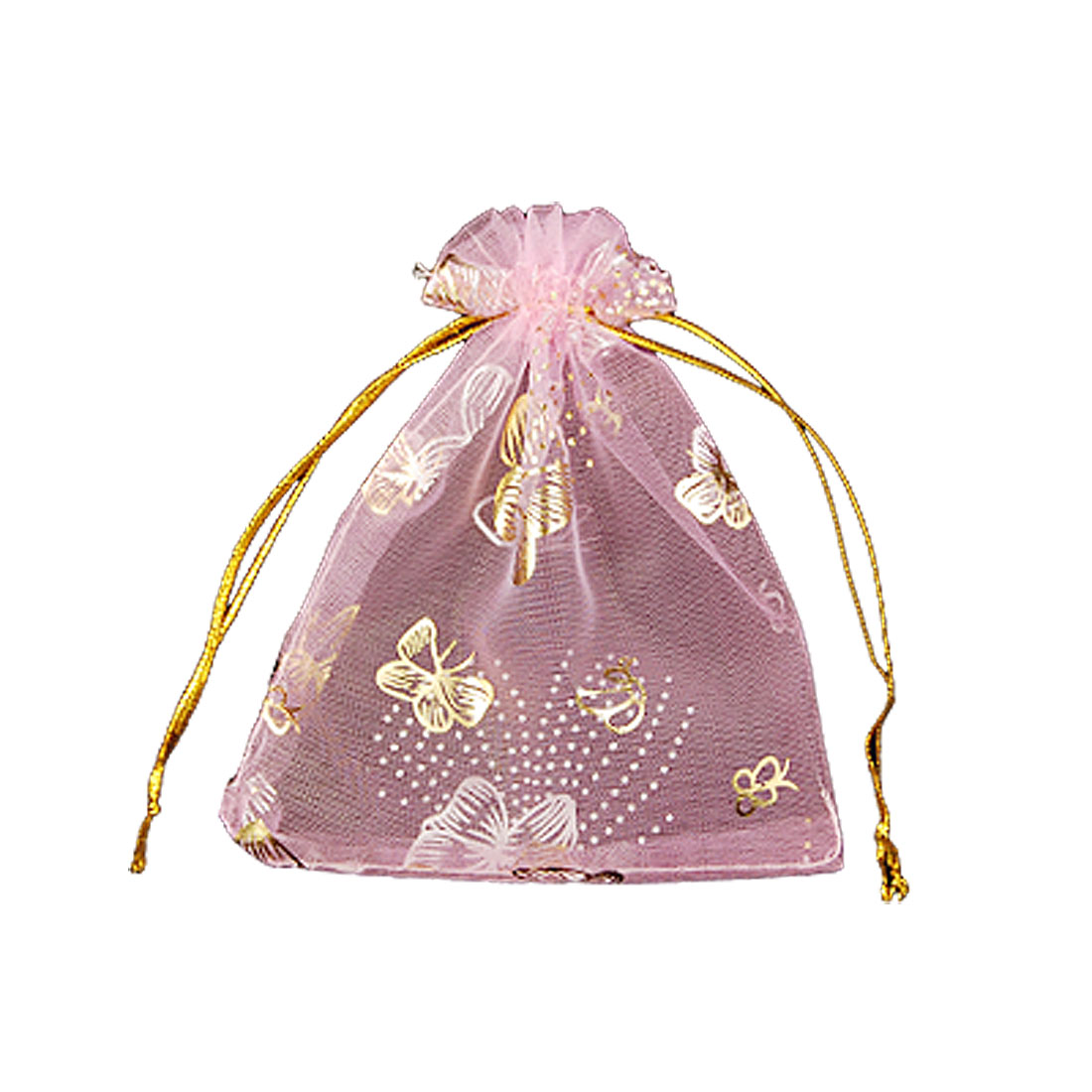 Gold Tone Butterfly Print Pink Organza Candy Packaging Bag