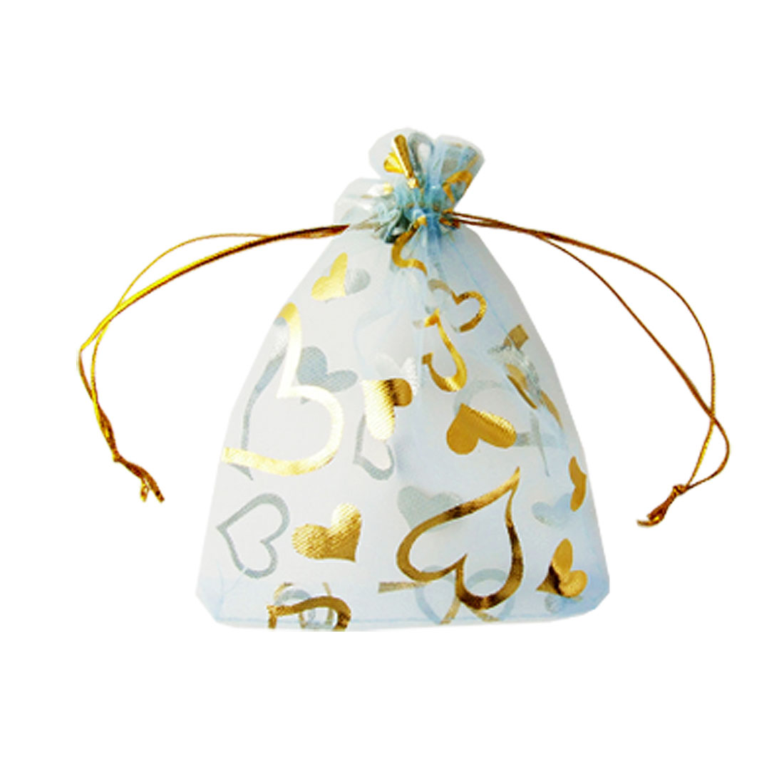 Gold Tone Heart Print Blue Organza Wedding Candy Gift Bags 10 Pcs