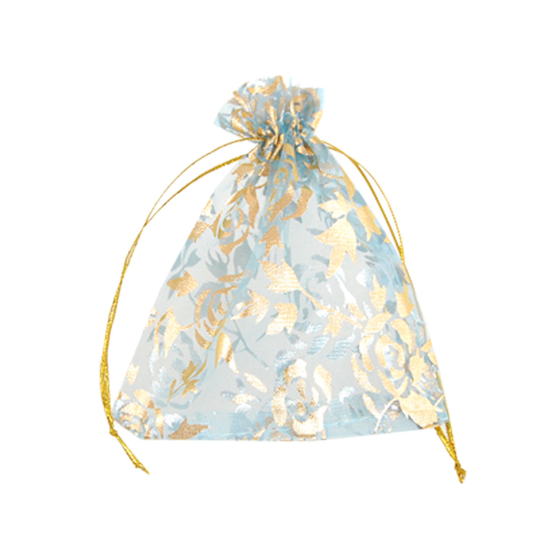 Gold Tone Rose Print Blue Organza Candy Gift Bag 10 Pcs