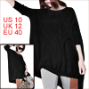 Woman Long Batwing Sleeve Round Neck Loose Shirt Black M