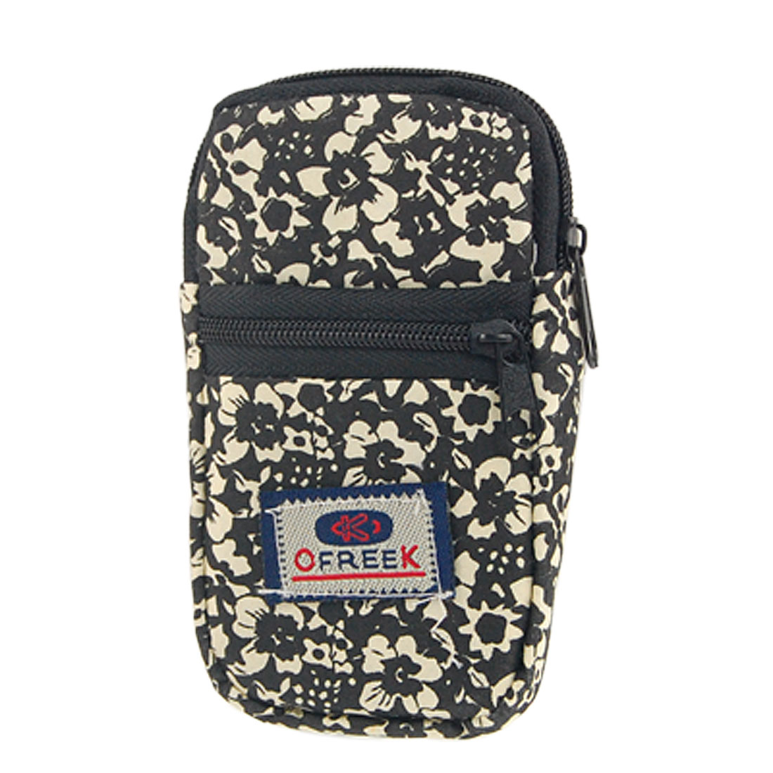 Mobile Phone Black Beige Floral Bag Zip Up Wristband Pouch
