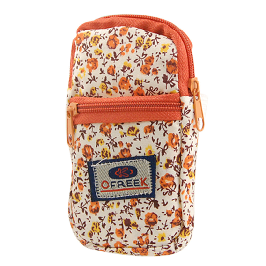 Orange Red Fabric Floral 2 Compartments Zip Bag Phone Pouch