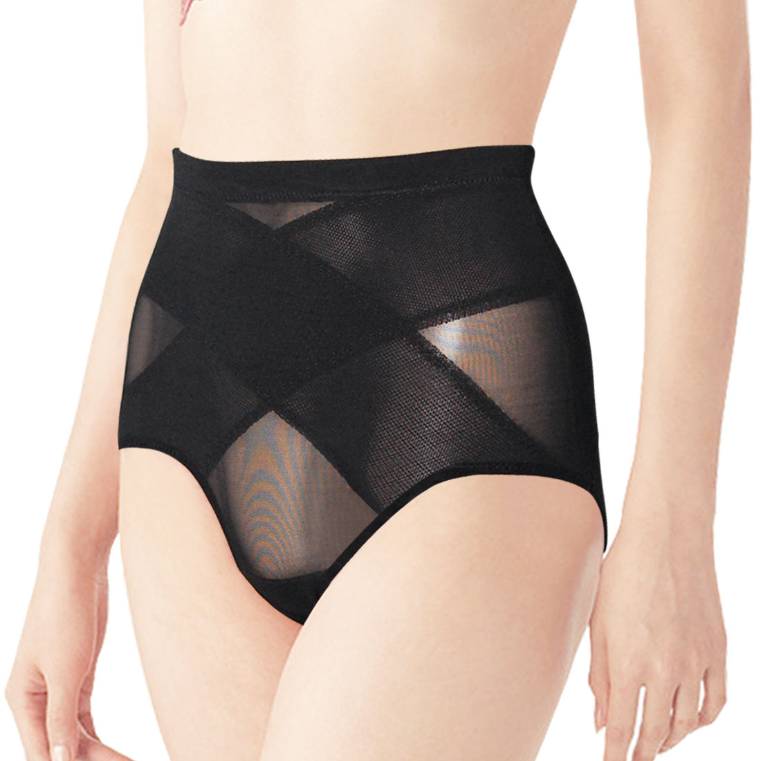 Woman Solid Black Underwear High Waist Stretch Briefs XS