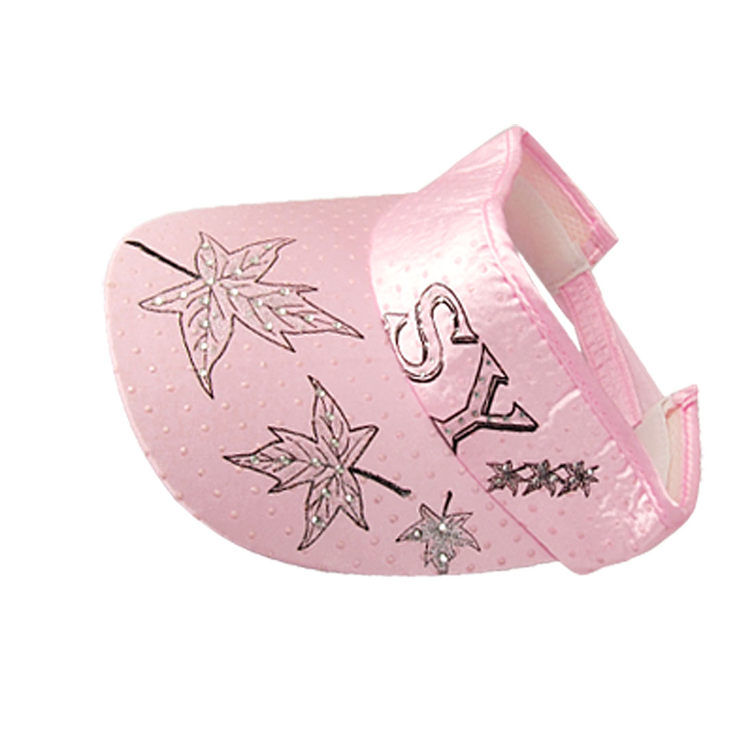 Lady Hook Loop Fastener Leaf Print Pink Sports Visor Cap