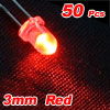 50 Pcs 3mm Round Head LED Light Emitting Diodes Red
