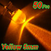 50 Pcs 5mm Clear Round Head 2 Terminal Yellow LED Light Emitting Diode