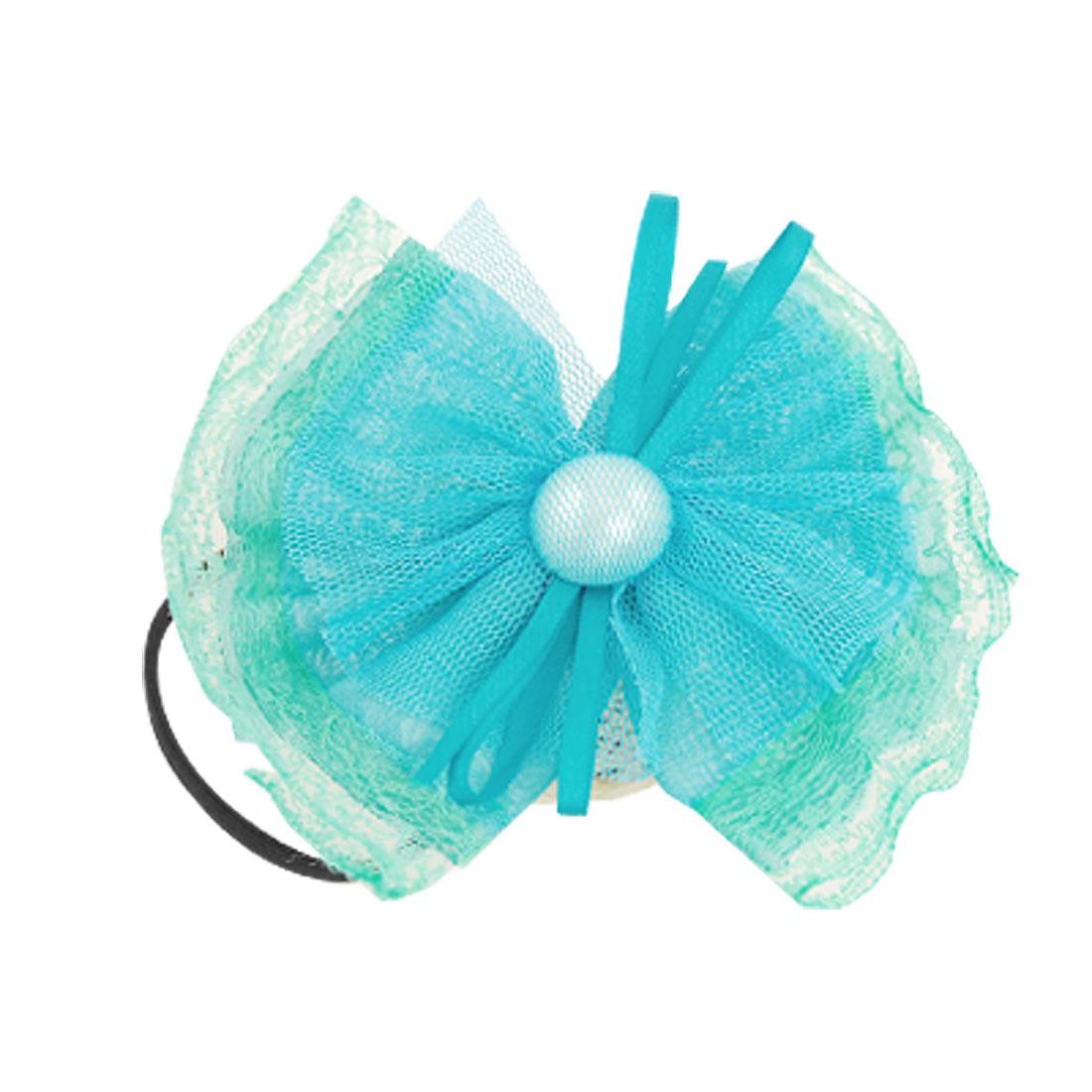Lady Green Chiffon Bowknot Black Elastic Hair Band Wide Bracelet Ornament