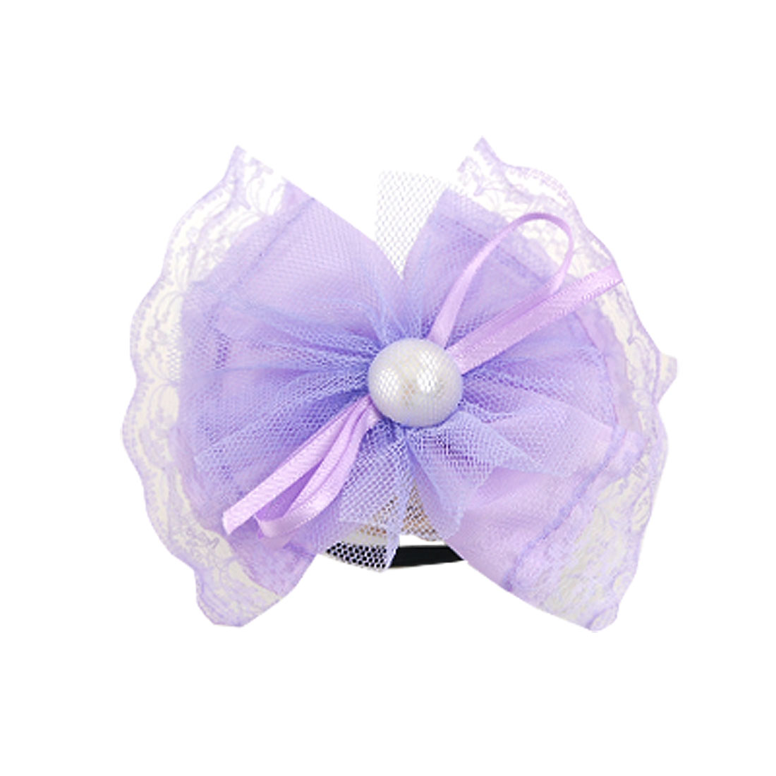 Imitation Pearl Decor Purple Bowknot Band Bracelet Elastic Hairband