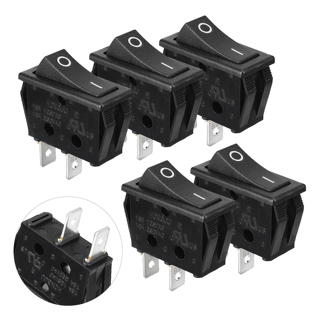 5pcs AC 6A/250V 10A/125V ON/OFF I/O SPST 2 Pole Snap in Boat Rocker Switch Black