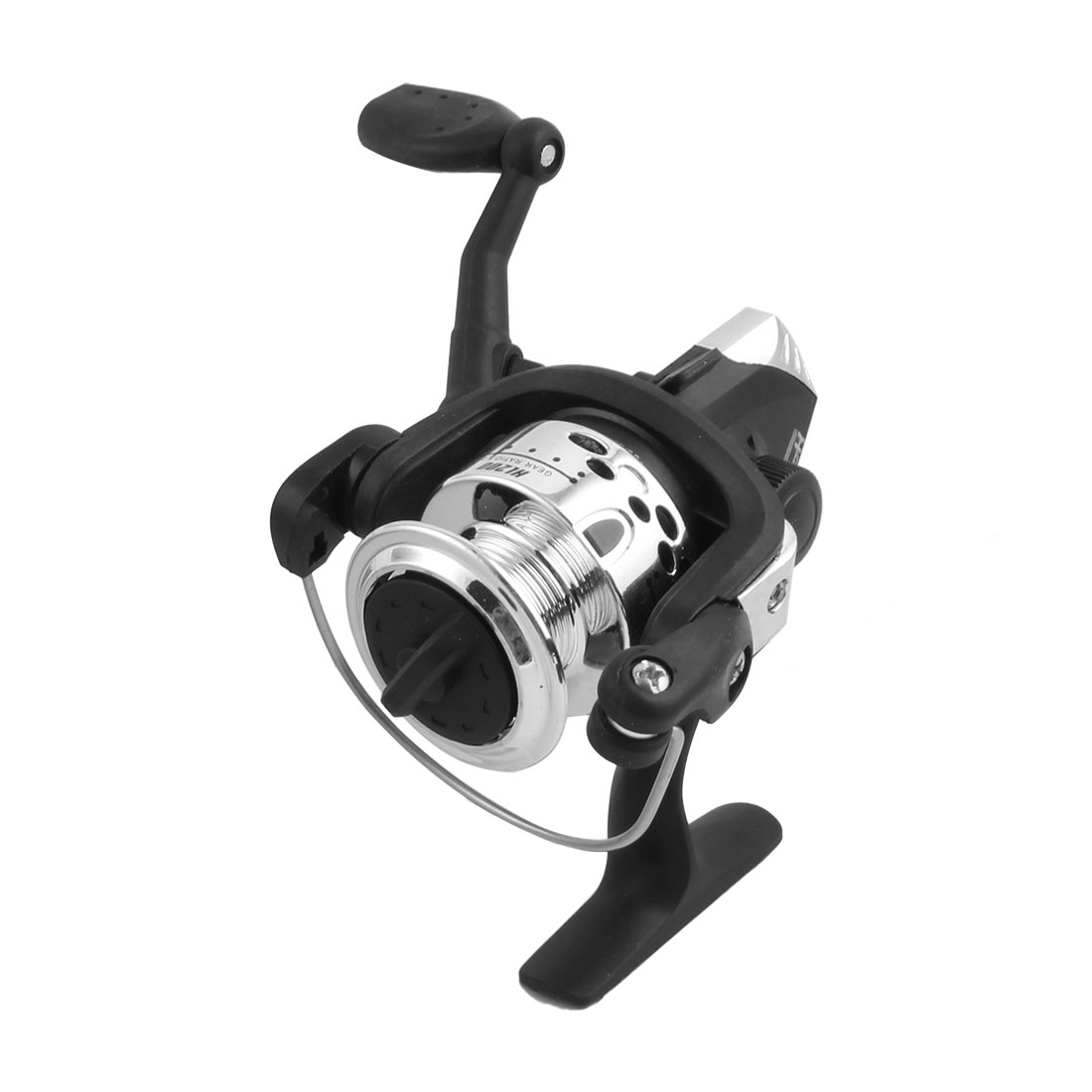 Gera Ratio 5.2:1 Black Silver Tone Plastic Changeable Handle Fishing Spinning Reel