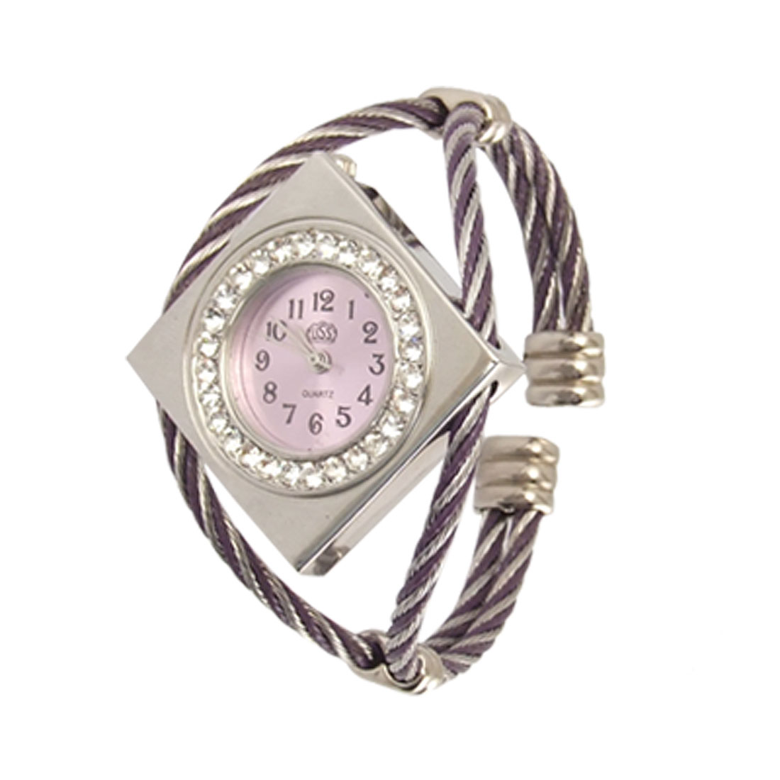 Rhinstone Decor Square Shape Dial Bracelet Wrist Watch for Lady
