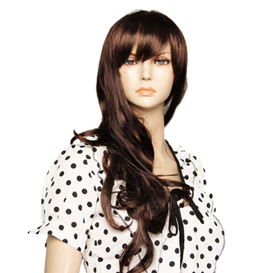 Women Costume Party Long Wavy Hair Wig Hairpiece with Bangs
