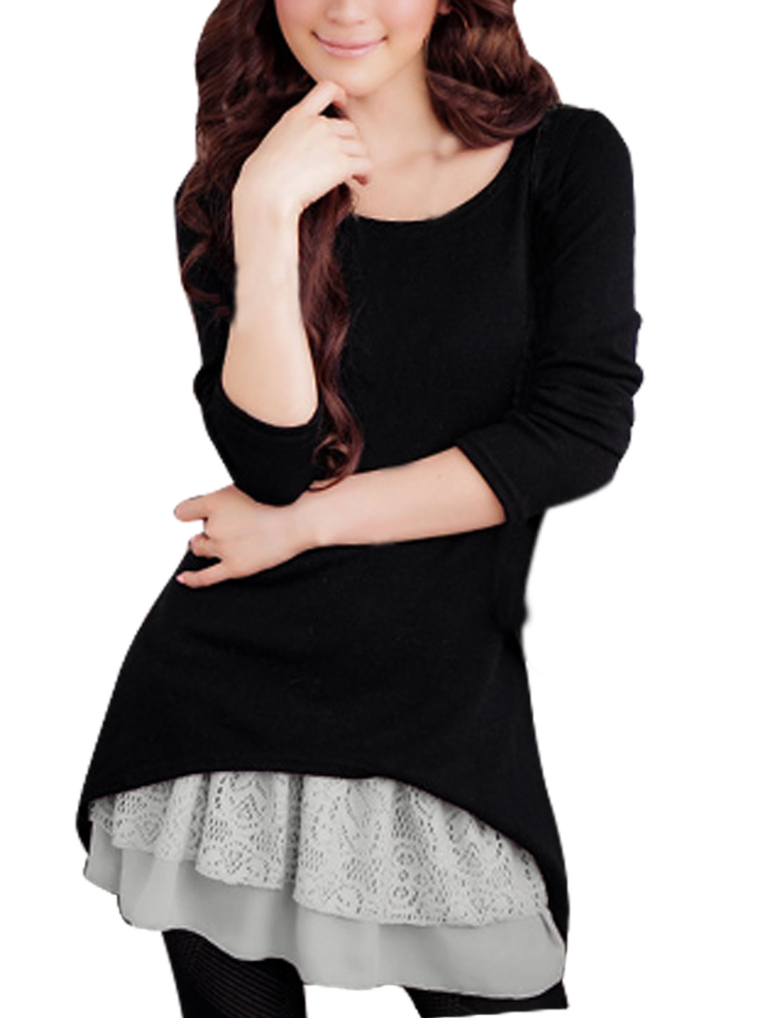 Women Black Long Sleeves Stretchy Shirt w Gray Tank Top XS