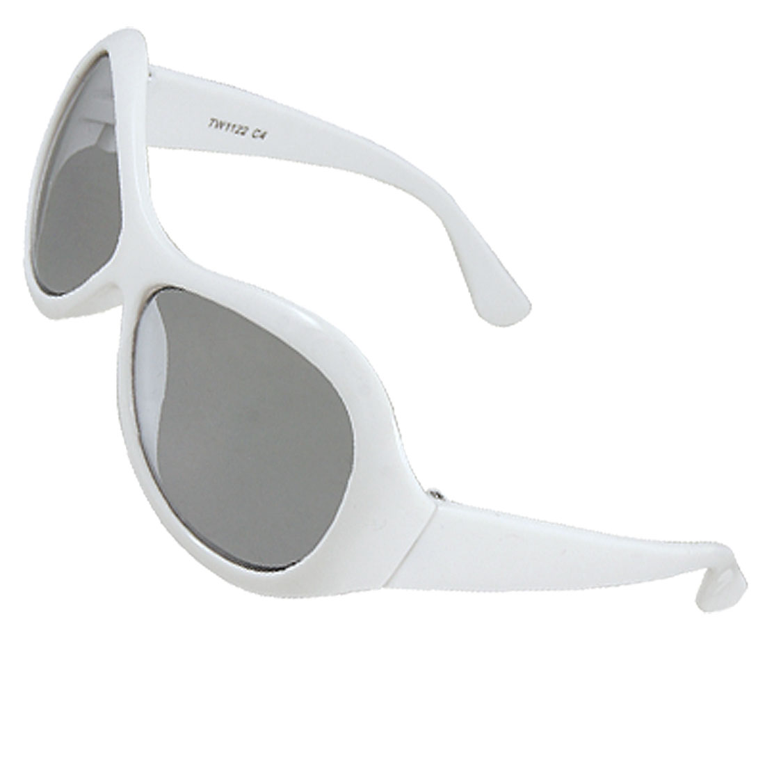 Children White Hard Plastic Full Frame Dark Lens Sunglasses