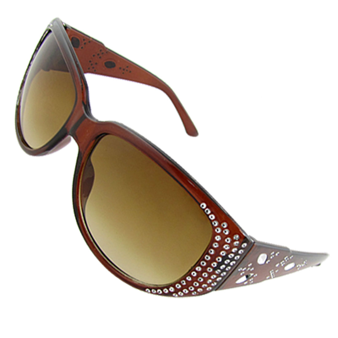 Lady Oval Lens Plastic Full Frame Brown Wide Arm Sunglasses