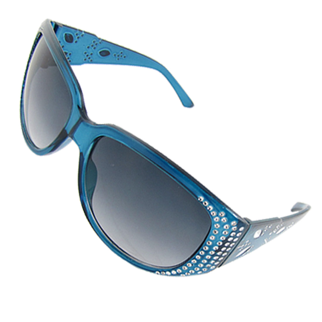 Plastic Wide Arm Steel Blue Full Frame Oval Lens Sunglasses for Women