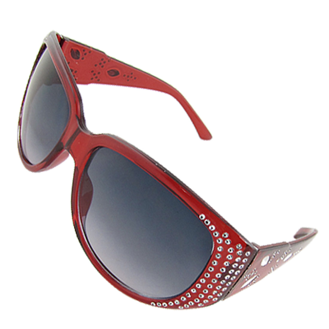 Oval Lens Red Full Frame Dot Detailing Wide Arm Sunglasses for Lady