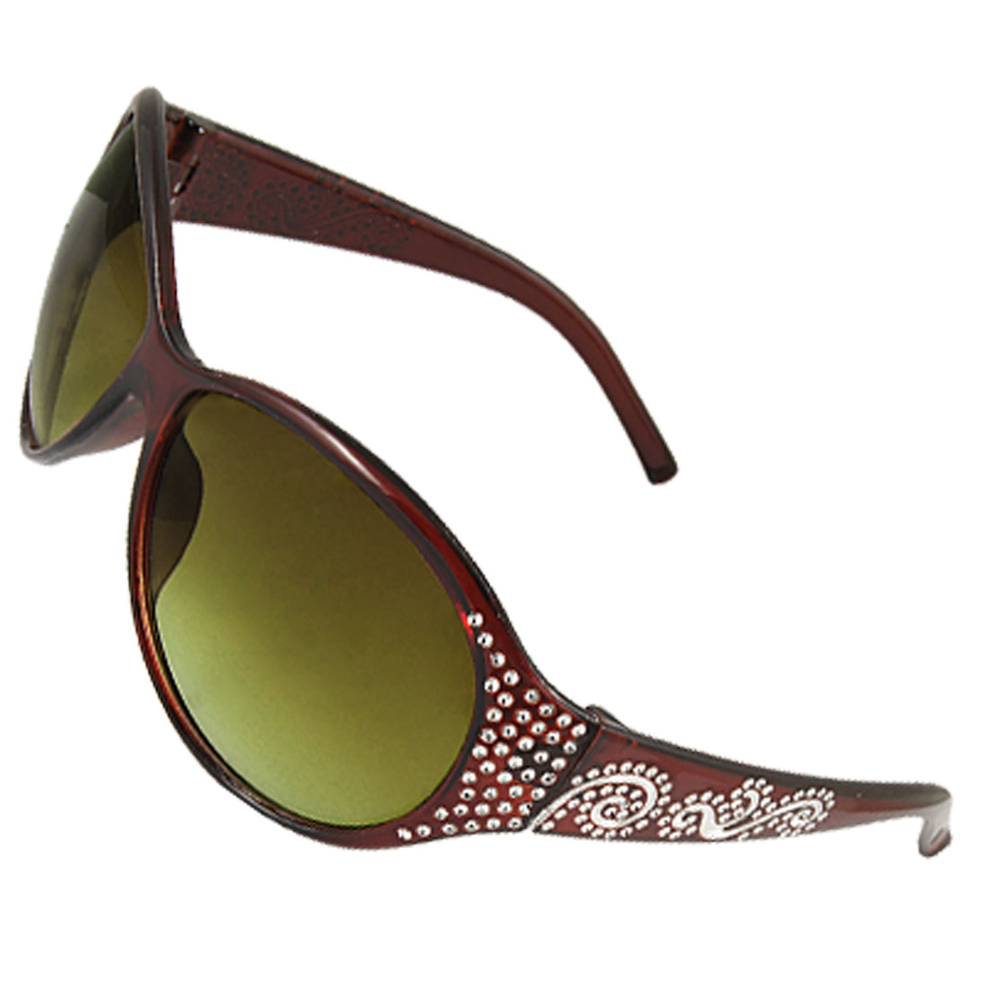 Woman Silver Tone Wave Decor Arm Dark Brown Sunglasses