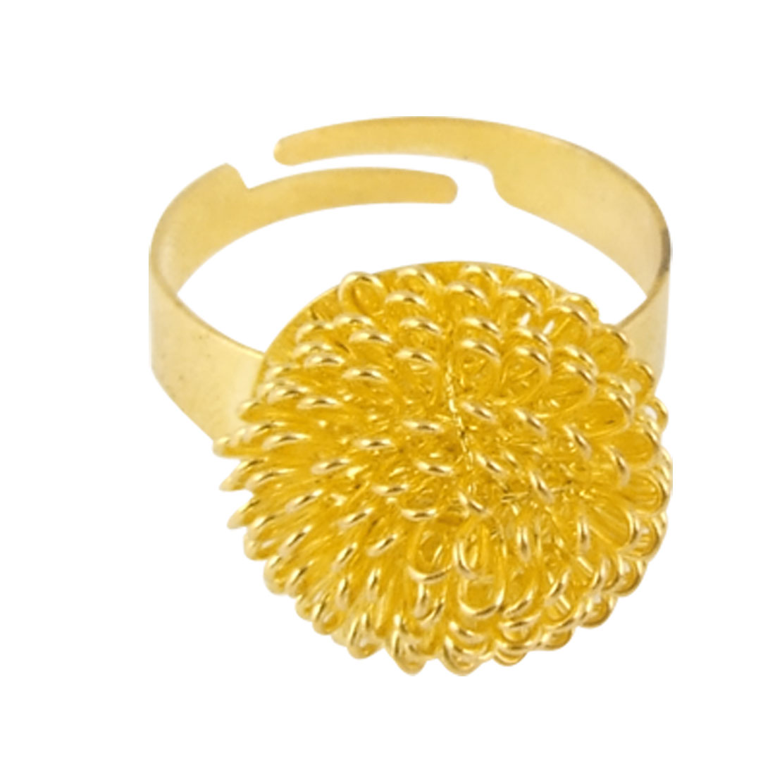 US 8 Gold Tone Flower Decor Metal Finger Ring for Ladies