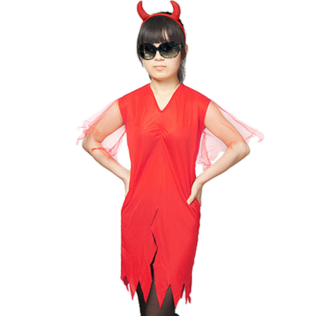 Handkerchief Hem V Neck Red Devil Halloween Costume for Girls