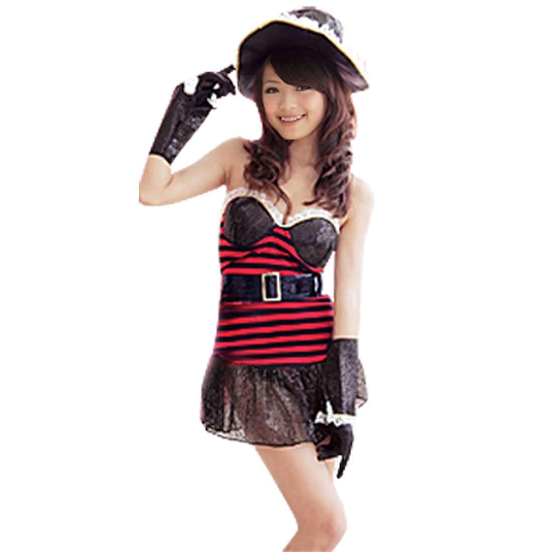 Woman Sexy Belted Dress Halloween Party Pirate 6 Piece Set Costume + Hat + Gloves XS