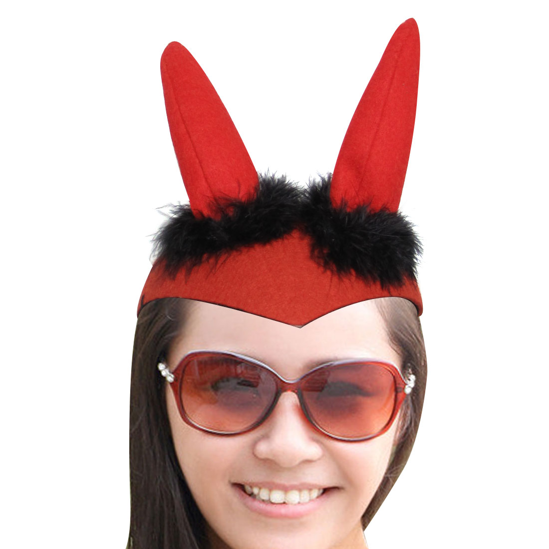 Halloween Party Black Feather Red Sponge Horn Design Devil Hat