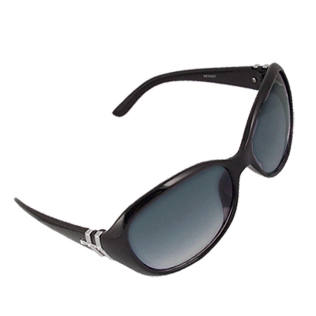 Plastic Black Full Frame Colored Oval Lens Sunglasses for Ladies
