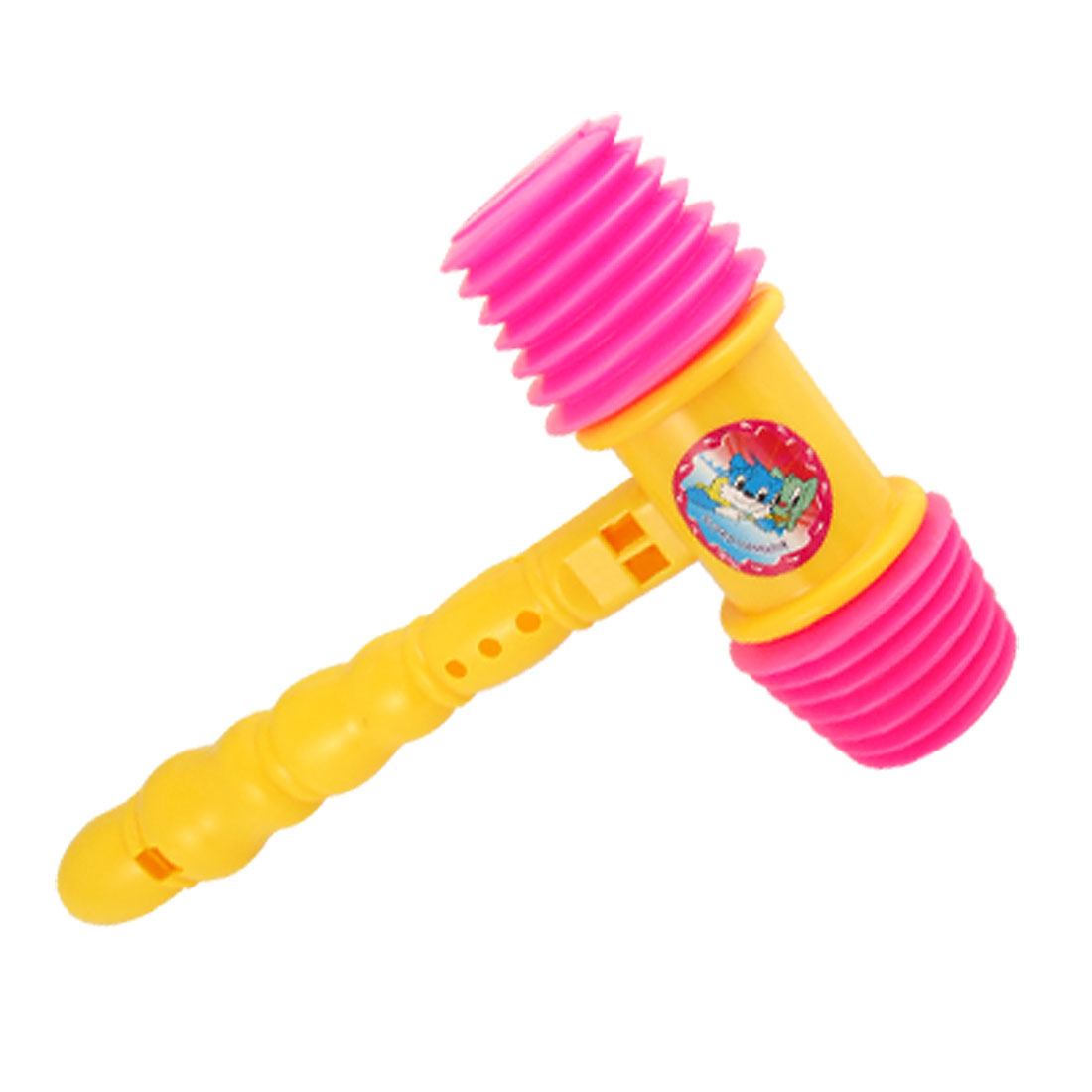 Children Yellow Plastic Handle Hot Pink Hammer Whistle Musical Toy