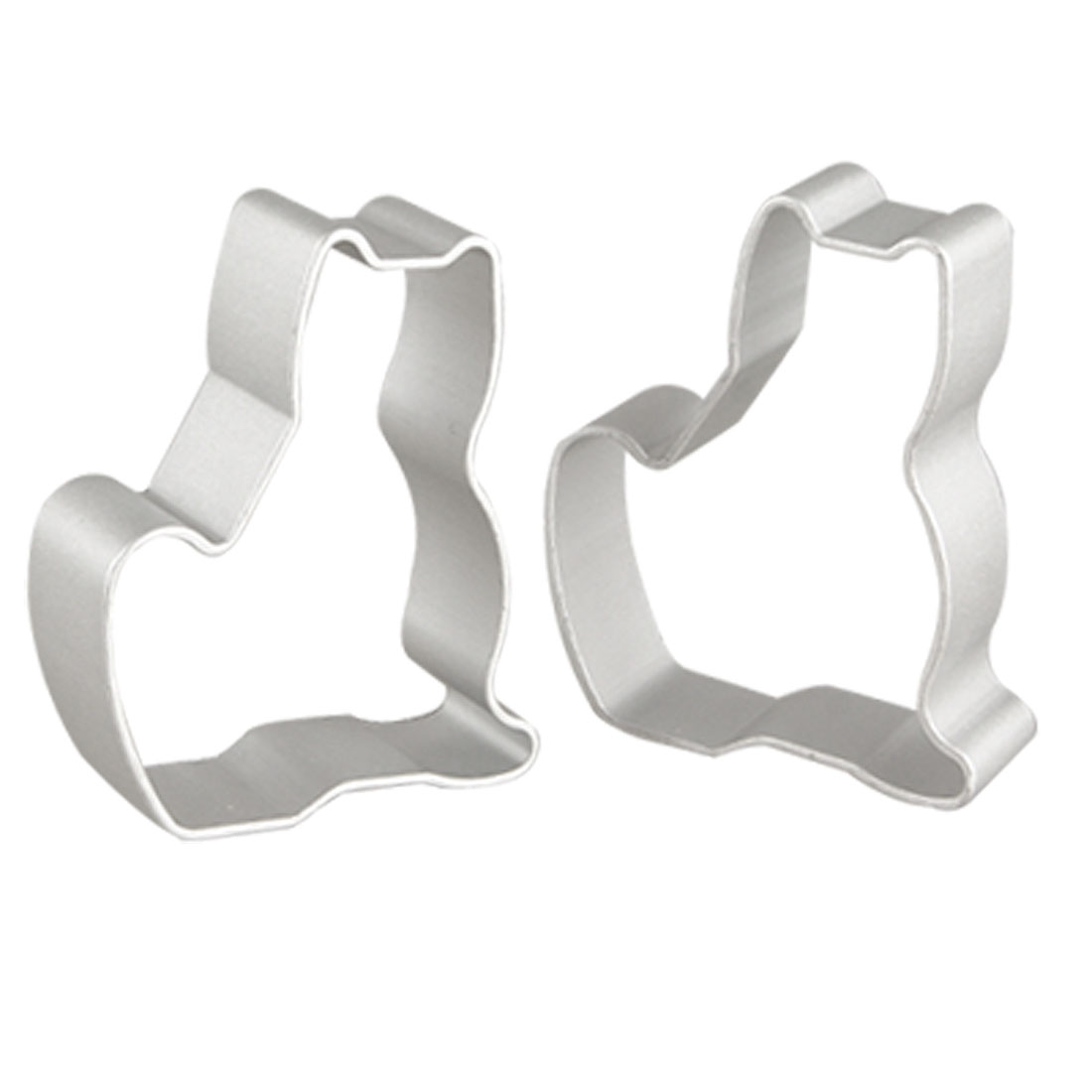 2 Pcs Silver Tone Sitting Cat Shaped Cake Cookie Cutters Moulds for Bakery