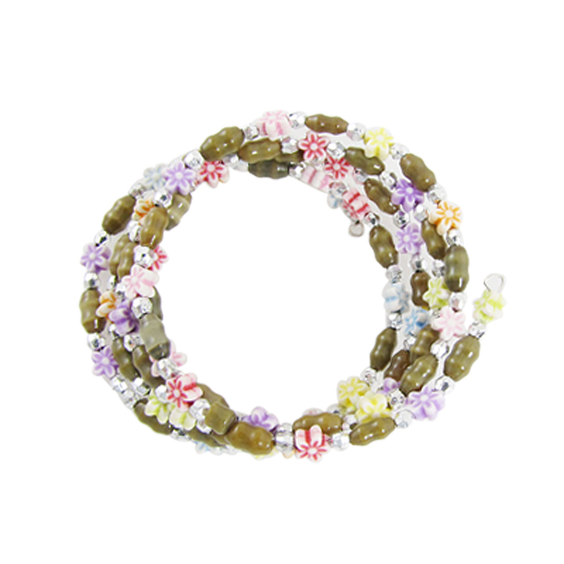 Colorful Flowers Dark Green Beads Multilayer Bracelet