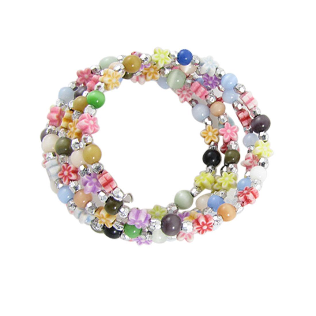 Colorful Beads Flowers Hoop Bangle Bracelet