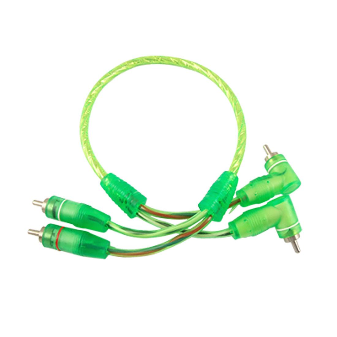 50cm RCA Right Angle to Straight Male Plug Audio Cable Clear Green