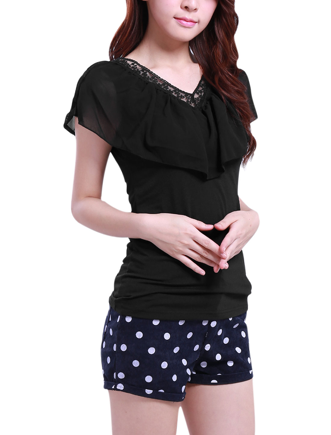 Ladies Chiffon Ruffle Detail Neckline Black Stretchy Blouse M