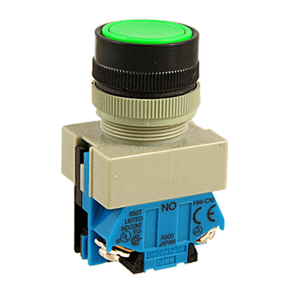"AC 600V 10A Green Sign Momentary Push Button Switch 22mm 7/8"" 1 NO N/O 1 NC N/C"