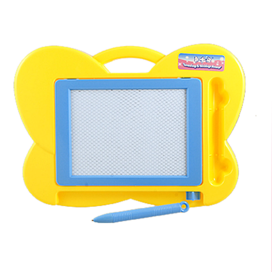 Yellow Blue Butterfly Style Plastic Drawing Writing Board w Magnetic Powder Pen