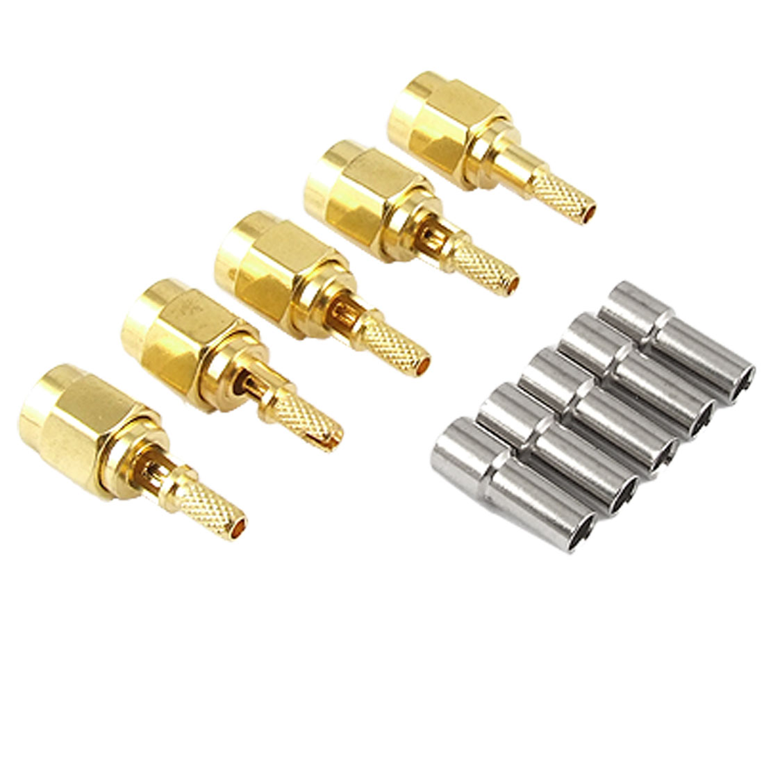 5pcs Gold Tone Plated SMA Male RG316 RG174 LMR100 Crimp Coaxial Connector