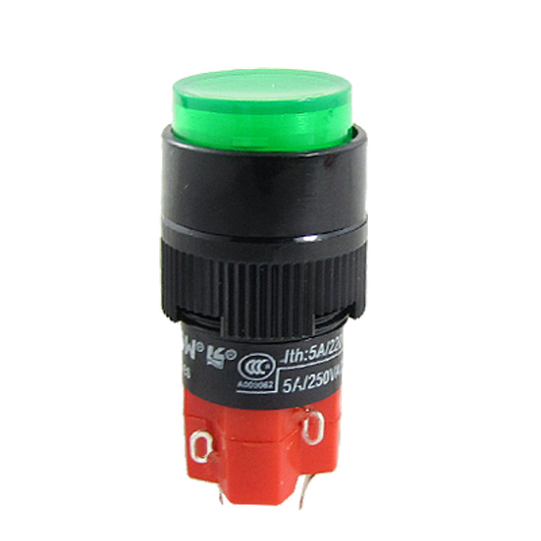S1Y-11E Green Push Button Self Locking Switch w LED Signal Lamp AC 220V