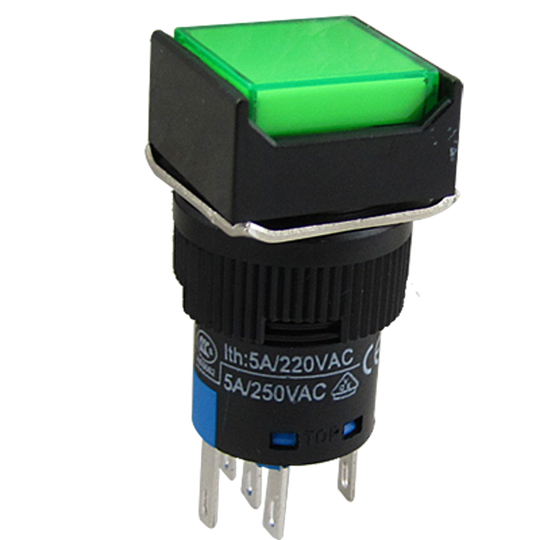 Square Green Plastic Push Button Momentary Contact Switch AC 250V