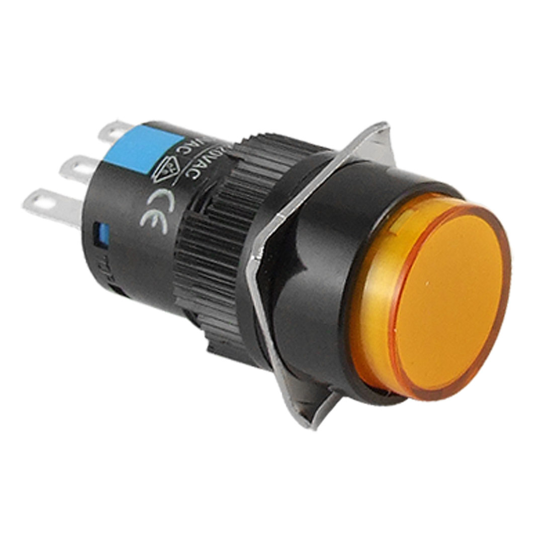Orange Round Cap Momentary Contact Push Button Switch AC 250V 5A