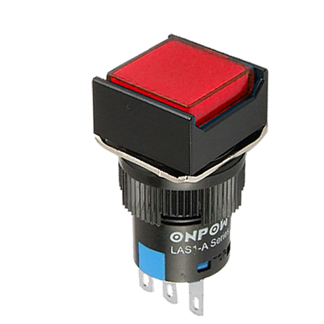 Red Square Button 3 Terminal Push Switch AC 250V