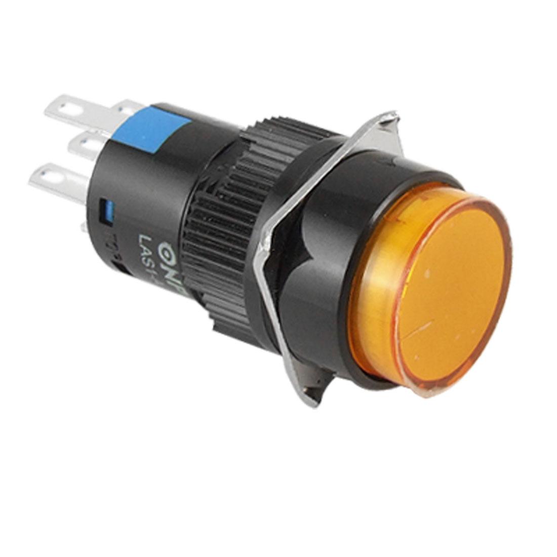 DC 24V Orange Round Cap Lamp Panel Mount 5 Pins Push Button Switch